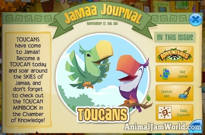 toucans are here animal jam world