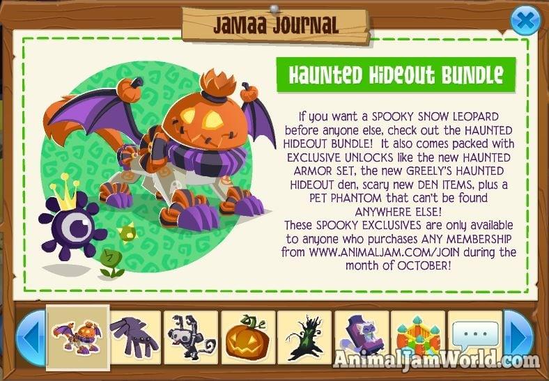 Animal Jam Haunted Hideout Bundle - Exclusive Animal, Items & More!